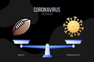 coronavirus o illustrazione vettoriale di football americano. concetto creativo di scale e versus, su un lato della scala si trova un virus covid-19 e sull'altro l'icona del rugby. illustrazione vettoriale piatta.