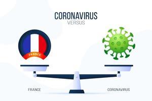 coronavirus o illustrazione vettoriale di Francia. concetto creativo di scale e versus, su un lato della scala si trova un virus covid-19 e sull'altro l'icona della bandiera della Francia. illustrazione vettoriale piatta.