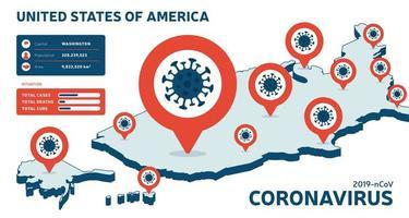 covid-19 mappa isometrica USA casi confermati, cura, rapporto decessi. aggiornamento della situazione della malattia da coronavirus 2019 in tutto il mondo. Le mappe americane e il titolo delle notizie mostrano la situazione e lo sfondo delle statistiche