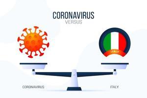 coronavirus o illustrazione vettoriale italia. concetto creativo di scale e versus, su un lato della bilancia si trova un virus covid-19 e sull'altro l'icona della bandiera dell'italia. illustrazione vettoriale piatta.