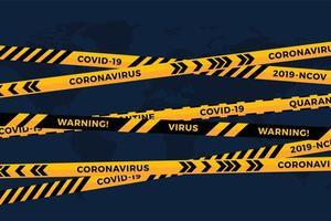 vettore di rischio biologico pericolo giallo nastro nero su carta bianca tagliata sfondo mappa del mondo. nastro di recinzione di sicurezza. influenza da quarantena mondiale. avviso di pericolo pericolo di influenza. pandemia globale di coronavirus covid-19