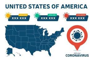 covid-19 mappa degli Stati Uniti ha confermato casi, cure, rapporti di decessi in tutto il mondo a livello globale. aggiornamento della situazione della malattia da coronavirus 2019 in tutto il mondo. Le mappe americane e il titolo delle notizie mostrano la situazione e lo sfondo delle statistiche