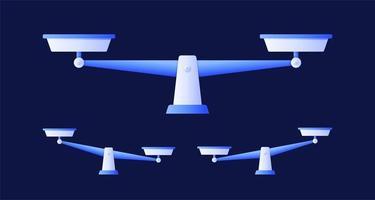 set di bilance, design piatto, bilancia, illustrazione vettoriale isolato su sfondo blu