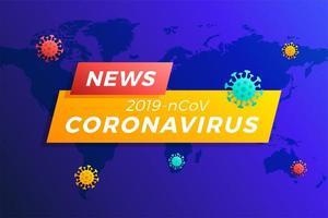 titolo delle ultime notizie covid-19 o coronavirus nel mondo. coronavirus nell'illustrazione vettoriale di wuhan.
