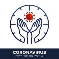 prega per il concetto di coronavirus mondiale con illustrazione vettoriale mani.