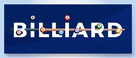vettore tipografia parola biliardo logo. logotipo di sport con attrezzature per l'illustrazione di vettore di progettazione di stampa