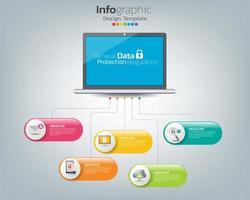 modello di infografica gdpr regolamento generale sulla protezione dei dati su labtop con icone vettore