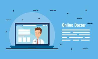 banner di medicina online con medico e laptop