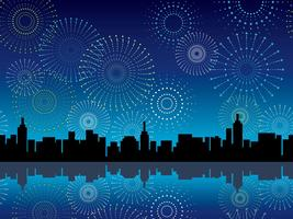 Un paesaggio urbano senza giunte e fuochi d'artificio, illustrazione vettoriale. vettore