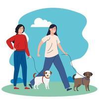 persone che camminano con i cani all'aperto
