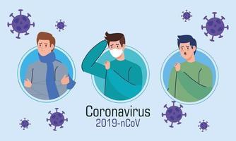 uomini con banner di sintomi di coronavirus