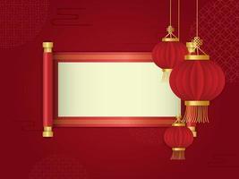 lanterna rossa e scorrimento davanti a sfondo astratto cinese