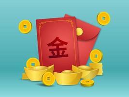 angpao cinese con moneta d'oro e lingotto