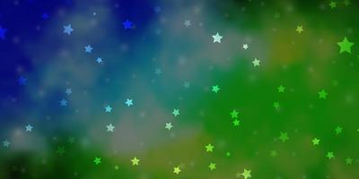 layout vettoriale azzurro, verde con stelle luminose.