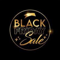 segno di vettore di vendita venerdì nero dorato