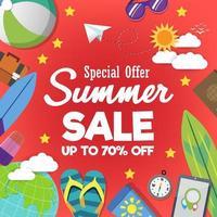 modello di banner di vendita eccellente estate su sfondo di colore.