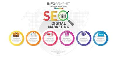banner di marketing online digitale con icone per contenuti aziendali.
