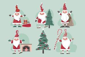 set di illustrazione vettoriale di gnomi di Natale