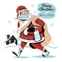 Babbo Natale che cammina con sacchi regalo e indossa una maschera