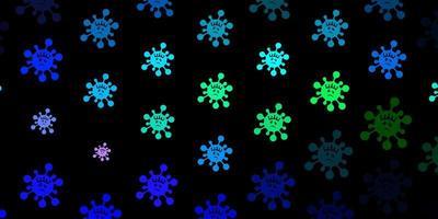 modello vettoriale blu scuro, verde con elementi di coronavirus