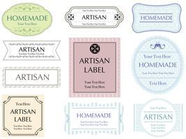 Un set di dieci etichette assortite.