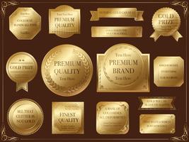 Una serie di etichette d'oro assortite. vettore