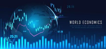 mappa del mondo finanziario con grafico