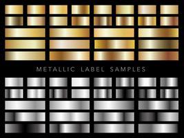 Una serie di campioni di etichette metalliche assortiti.