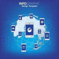 big data e concetto di mobilità con dispositivi collegati come smart phone.