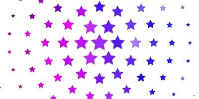 sfondo vettoriale viola chiaro, rosa con stelle piccole e grandi.