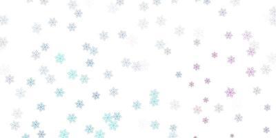 struttura di doodle di vettore rosa chiaro, blu con fiori.