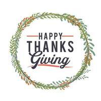 poster di tipografia del ringraziamento con ghirlanda floreale vettore