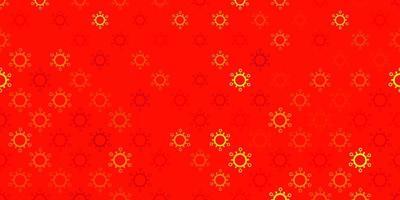 sfondo vettoriale rosso scuro con simboli covid-19