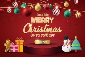 banner di vendita di Natale per il presente prodotto su sfondo rosso. testo buon natale acquista ora. vettore