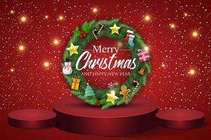 ghirlanda di Natale su sfondo rosso. testo buon natale e felice anno nuovo.