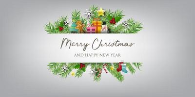 banner di Natale con sfondo e decorazioni natalizie. testo buon natale e felice anno nuovo.