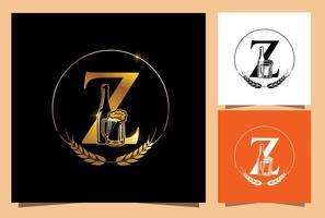monogramma di birra in vetro e bottiglia d'oro lettera z vettore