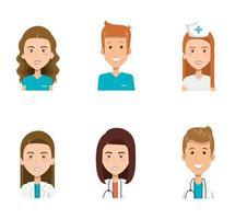 gruppo di paramedici e medici icone vettore
