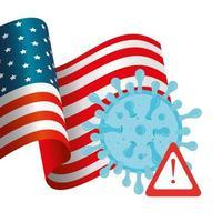 bandiera degli Stati Uniti e campagna di prevenzione del coronavirus