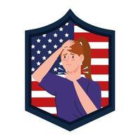 bandiera degli Stati Uniti con una giovane donna malata di covid-19