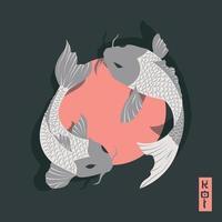 due carpe koi pesci che nuotano intorno al sole, in stile tradizionale giapponese vettore