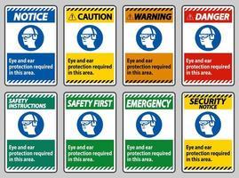 protezione degli occhi e delle orecchie necessaria in quest'area vettore
