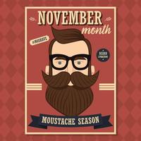 no shave novembre poster design con hipster uomo con barba e baffi vettore