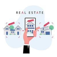 mano che tiene il telefono cellulare per cercare una proprietà o una casa in vendita vettore