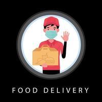 un cartone animato di consegna di cibo che mostra un uomo che tiene la maschera indossando la scatola