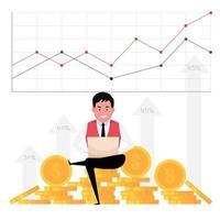 un cartone animato che mostra la crescita del business con un uomo che lavora al computer con uno sfondo di denaro e grafico statistico vettore