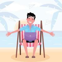 lavorando sulla spiaggia con un uomo felice seduto sul lettino con il computer portatile con uno sfondo di spiaggia vettore