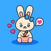 simpatico cartone animato coniglio vettore