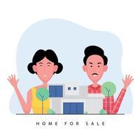 agente immobiliare che presenta una casa in vendita e in piedi dietro un modello vettore