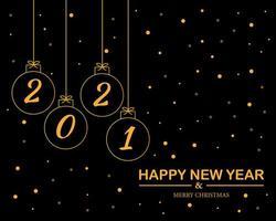 felice anno nuovo 2021 con il vettore di sfondo palla di Natale